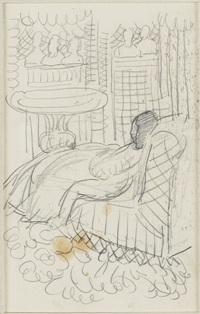 Vanessa Bell. The Back Bedroom: graphite drawing for Flush, [1932?] copyright Smith College