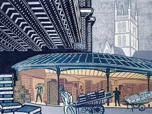Borough Market -  Edward Bawden, Fry Art Gallery