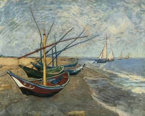 Fishing Boats on the Beach at Les Saintes-Maries-de-la-Mer, 1888 Vincent van Gogh