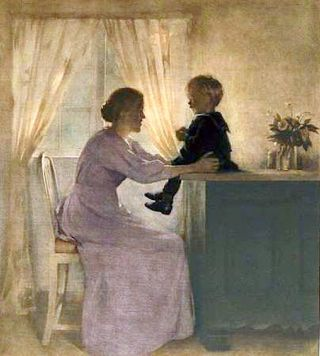 A Mother and Child in an Interior by Peter Vilhelm Ilsted 1898