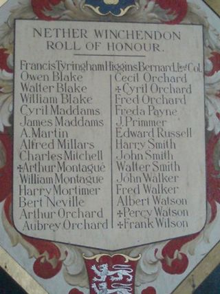 The Roll of Honour - Nether Winchendon church