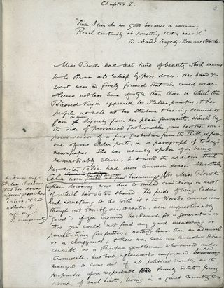 page from original manuscript of George Eliot's Middlemarch