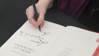 Hilary Mantel signing the dgr copy at Dartington 2012