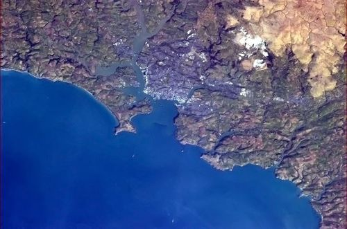 Plymouth from the ISS copyright Cdr Chris Hadfield