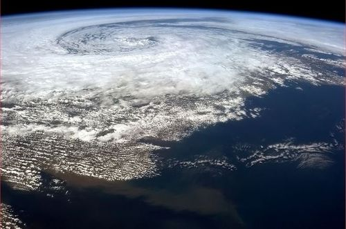 Iss storm over Ireland copyright Cdr Chris Hadfield