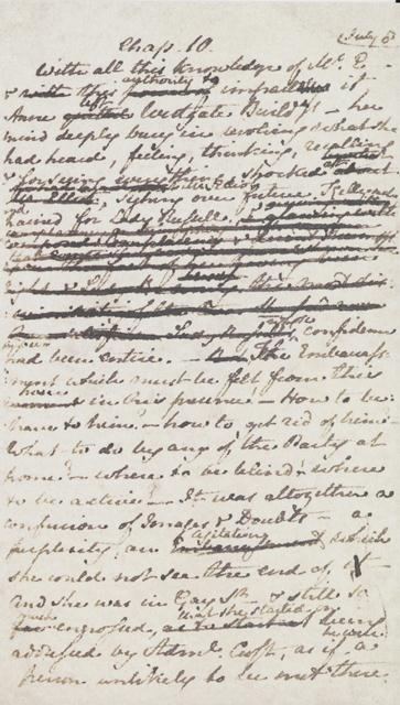 A facsimile page from Persuasion by Jane Austen