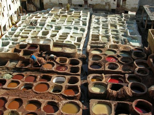 Leather_tanning,_Fes ~ Bernard Gagnon (Wikimedia Commons)