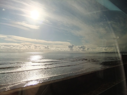 The sea at Dawlish from the train