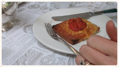 Thumbs up on the Fortnum's Welsh Rarebit..