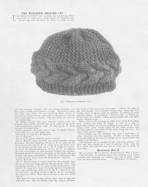 The Warleigh Smoking Cap