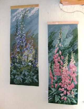 Hollyhocks and Foxgloves ~ Len Chester