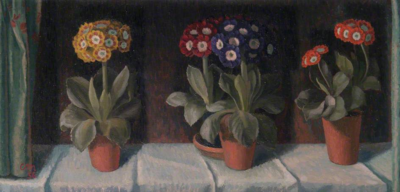 Auriculas in Pots by Charles Mahoney (copyright artist's estate)
