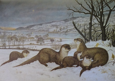 Otters Scenting the Thaw ~ Brian Carter