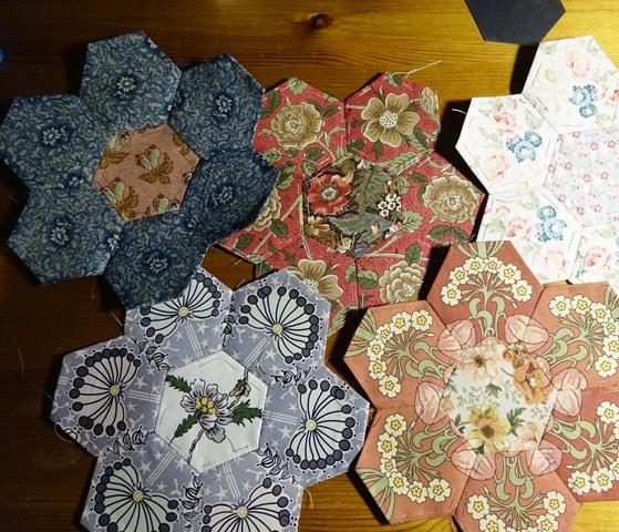 Hexagons fussy cut