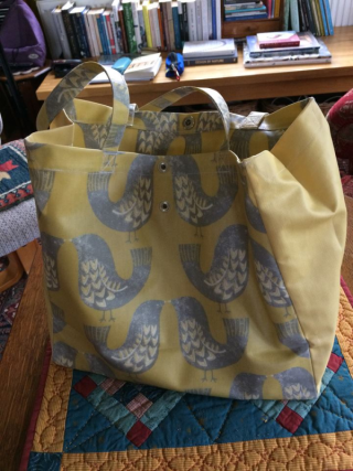 New bag. This one is cotton oilcloth (it s still likely to rain) and I  bought it from a Devon-based trader at a garden festival last weekend who I  often ... 667bea8d26d88